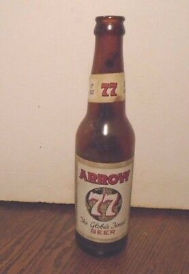 Rare Arrow 77 The Globe's Finest Beer, It Hits The Spot Paper Label 12 Oz Bottle