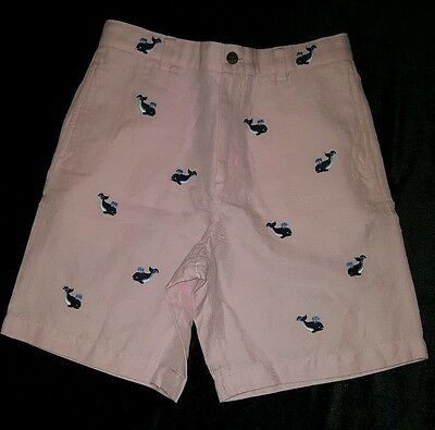 BROOKS BROTHERS Kids Pink Linen Blend Whales Shorts Preppy 14/27W