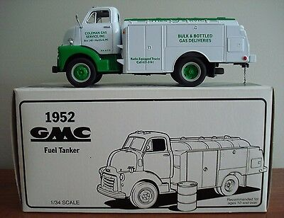 First Gear 1952 GMC Fuel Tanker 1/34 Scale - Coleman Gas Service Inc Hartford MI