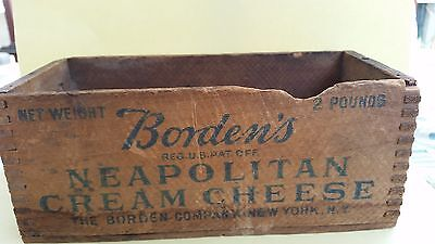 Rare Antique Primitive Borden's Neapolitan Cream Cheese 2 Lbs. Wood Wooden Box