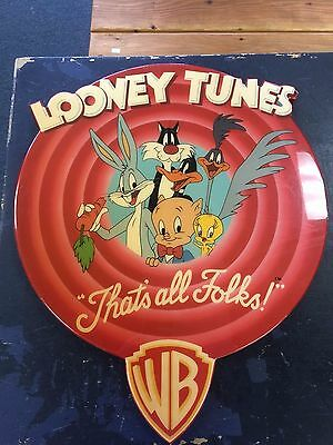 "Looney Tunes VTG ""That's All Folks"" Round Wooden Sign Large Wood RARE HTF"