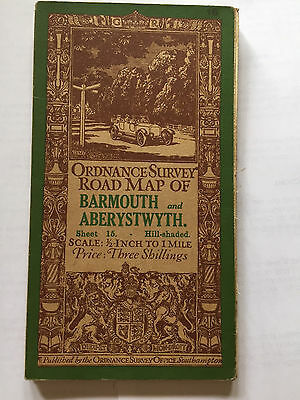 1913 Vintage Ord. Survey map of Barmouth & Aberystwyth (sheet 15 linen backed)
