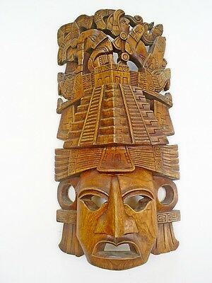 Vintage Mexican Folk Art/aztec Large Handcarved Wood/treen Wall Mask/plaque