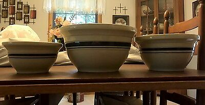 Roseville Pottery Mixing Bowls With Blue Bands (Set Of Three)