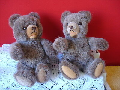 """Hermann ZOTTY (Lot of 2 Twin Teddy Bears) Made in West Germany 9.5"""" tall"""