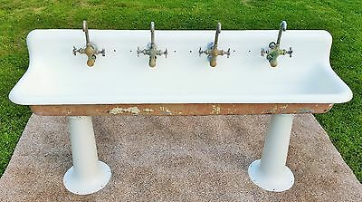 Antique ORIGINAL PORCELAIN Cast Iron Factory Sink 6 ft. Extremely RARE Faucets