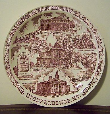 Independence Missouri Souvenir Plate VTG Vernon Kilns Truman Pioneers Tyler's