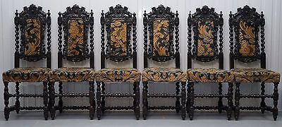 Set Of 6 Hand Carved Lion Detailed Gothic Jacobean Circa 1600 Dining Chairs 6