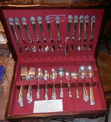 *78* pc Serv for 12 1847 Rogers Bros Eternally Yours Silverplate Flatware+Chest