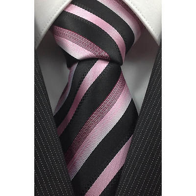 Black And Pink Striped Classic 100% Silk Men's Necktie A2121
