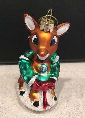 Vintage Christmas Ornament Rudolph Red Nose Reindeer Glass