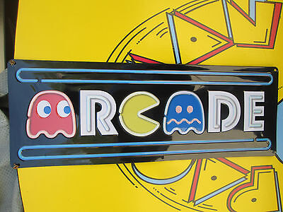 ARCADE Metal Embossed Sign PAC MAN  MIDWAY ARCADE VIDEO GAME COIN AMUSEMENT MS J
