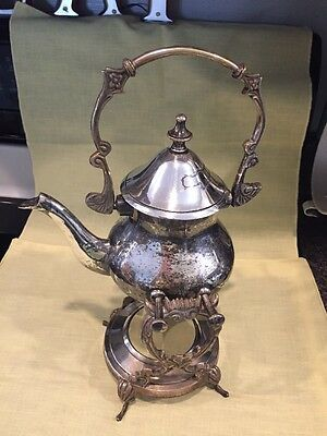 Vintage Silver plated Tea/coffeePot With Pouring Warmer Stand (187)