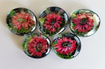 5 Large Clear Glass Gems Handmade With Fabric Pink Flowers On Black