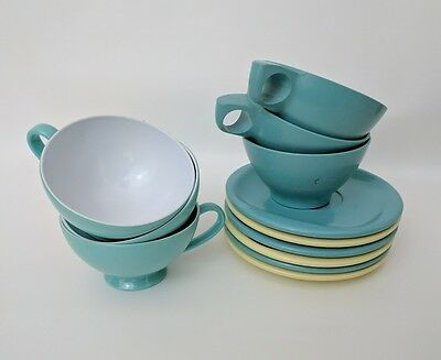 Texas ware Boontonware Saucers Cups Yellow Turquoise Melmac Melamine 12 pcs