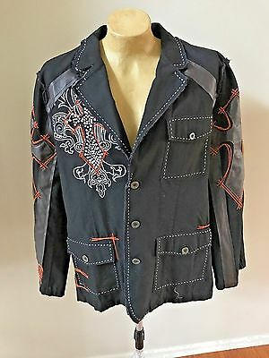 Hama Men's Black Button Jacket Embroidered w/ faux leather Motorcycle 2XL