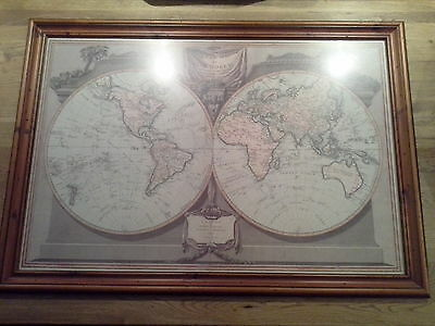 A New Map of The World, Captain Cooks Tracks 1794 (LARGE FRAME)