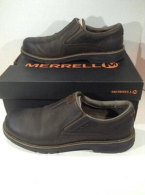 Merrell Mens Size 11 Realm Moc Brown Leather Slip On Shoes Loafers ZL-813