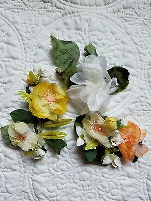 Vintage Millinery Hat Flowers Yellow/Peach/White Beautiful
