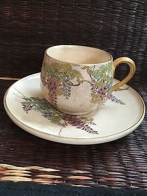 Antique Japanese Satsuma Wisteria porcelain cup&saucer gild marked signed Iconic
