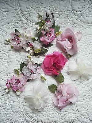 Lot of Vintage Millinery Hat Flowers Pink and White