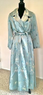 Vintage 1940s 1950s Blue Aqua Brocade Japanese Dressing Gown Robe Silk Satin