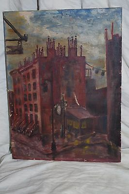 OLD Vintage Folk Art unframed - signed small painting