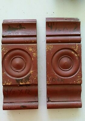 Pair of Antique Carved Wood Plinth Blocks Trim Door Moulding Architectural (D)