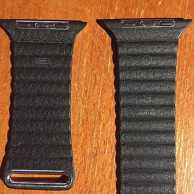 Original Apple BLACK Leather Loop Watch Band Large 42mm -Discontinued