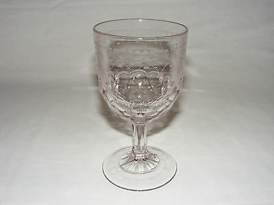 ANTIQUE C. 1890  EARLY AMERICAN PRESSED GLASS SUN PURPLE HONEYCOMB GOBLET Eapg
