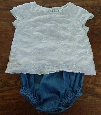Infant Baby Girl 6-12 Months One Piece Romper Outfit. Summer/Fall. VGUC