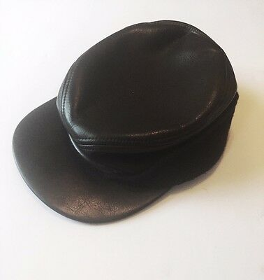 Men's Brown Vintage Leather Hat - USA - Ear Flaps - Limited Hatters Cap  6-7/8