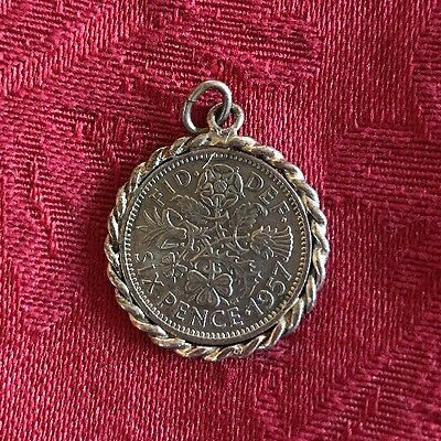 Great Britain 1957 Regina Lucky Six (6) Pence Wedding Coin Good Luck Pendant