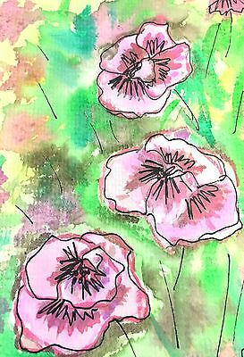 Original Watercolor Painting Signed 5 X 7 Floral