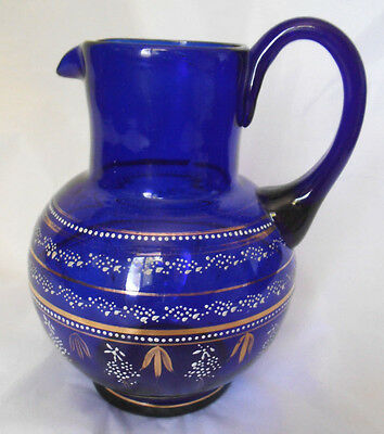 Antique Victorian Cobalt Blue Glass Pitcher Enamel Decoration Hand Blown