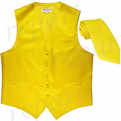 New Polyester Formal Men's Tuxedo Vest Waistcoat & tie solid yellow prom
