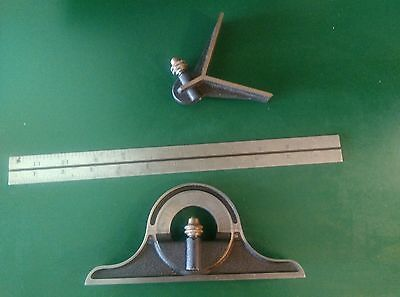 "STARRETT COMBINATION 3 PIECE SET, 12"" RULE, PROTRACTOR and CENTER HEAD"