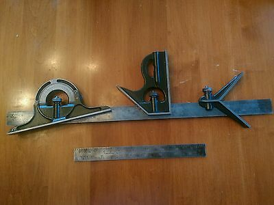 "VINTAGE LUFKIN COMBINATION SQUARE SET , 5 PIECE, WITH 9"" and 18"" BLADE"
