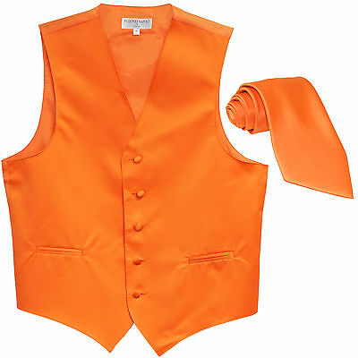 New Polyester Formal Men's Tuxedo Vest Waistcoat & tie solid orange prom