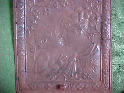 Vintage  Mother And Child Tin Fireplace ~ Summer Cover Screen