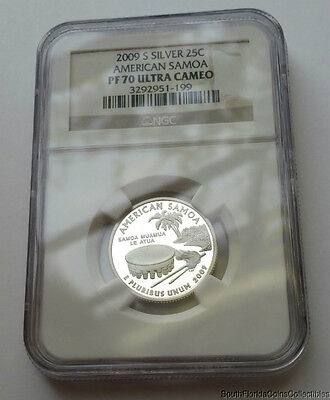 PERFECT 2009-S NGC Proof 70 PF 70 Ultra Cameo American Samoa Silver Quarter