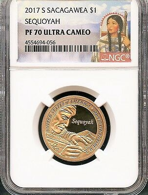 2017 S Sacagawea $1 Sequoyah NGC PF70 Ultra Cameo Red Portrait Label