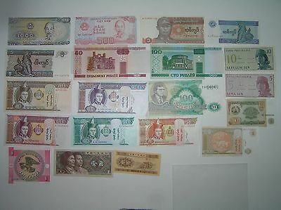 20 World Banknotes Crisp Uncirculate Currency Huge Lot Collection Of Paper Money