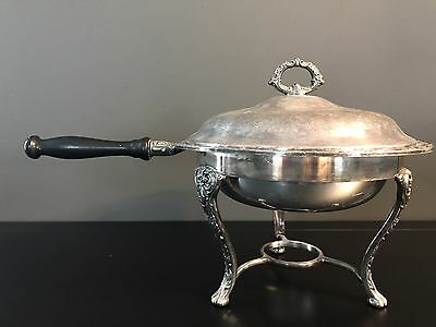 Vintage WM Rogers & Son Silver Plate Chafing Dish Victorian Rose Three Pieces