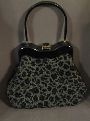 Vintage Black Lucite Handled Rialto Floral  Carpet Bag Purse  Black Gray