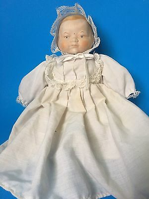 Bye Lo Baby Style Doll in Christening Gown Porcelain Shoulder Head