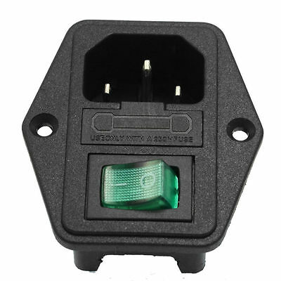 10A 250V Inlet Module Plug Fuse Switch Male Power Socket 3 Pin IEC320 C14 BE