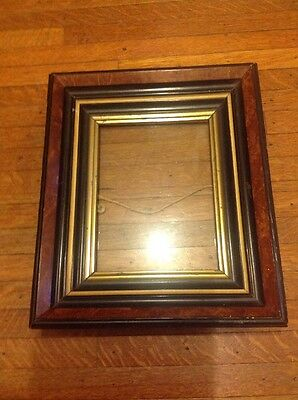 Antique Victorian Shadowbox Picture Frame Ebonized Gilt And Faux Wood