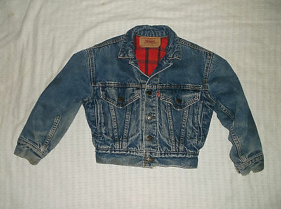 VTG 80's YOUTH LEVIS Denim jacket SM lined loop trucker jean blue plaid