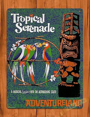 "TIN SIGN ""Disney's Tiki Room Tropical Serenade"" Ride Art Poster"